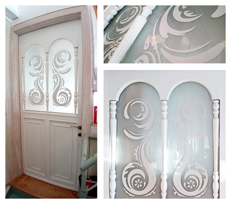 joyfer decoracion puerta decorada con vinilo blanco