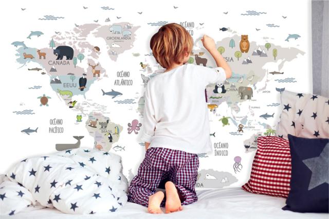 joyfer vinilo decorativo mapamundi animales